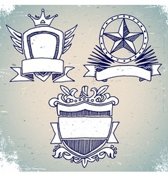 Set of sketch vintage shield labels vector image