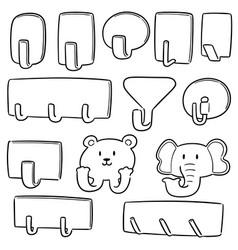 set of wall hooks vector image