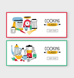 set of web banner templates with kitchen utensils vector image
