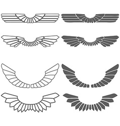 set wings isolated on white vector image