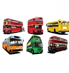 six vintage buses vector image