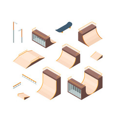 skate park isometric outdoors active characters vector image