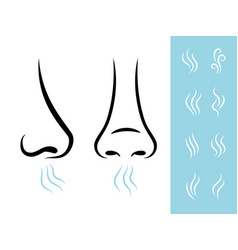 smell icons with human nose vector image