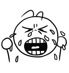 Smiley cartoon of crying face tears and cry vector