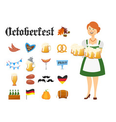 smiling bavarian woman dressed in traditional vector image