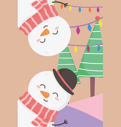 snowmen lights and trees merry christmas card vector image