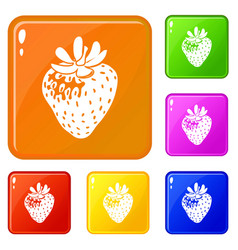 strawberry icons set color vector image