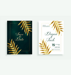 stylish golden leaves premium wedding card vector image