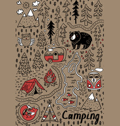 Summer camp and national park seamless pattern vector