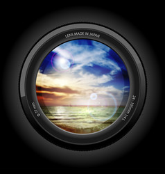 sunset on the beach view of the lens vector image