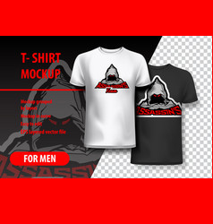 T-shirt mockup with assassins phrase in two vector