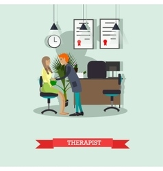 Therapist doctor conduct patient medical check up vector image