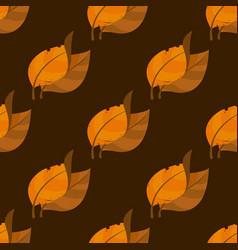 Tobacco leaves seamless pattern on brown vector