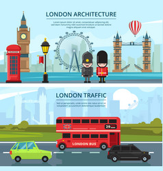 Urban landscape of london banners set vector