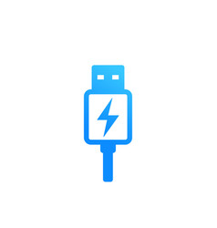 Usb charging plug icon on white vector