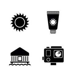vacation holiday simple related icons vector image
