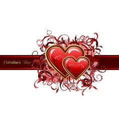 valentines grunge card with hearts vector image