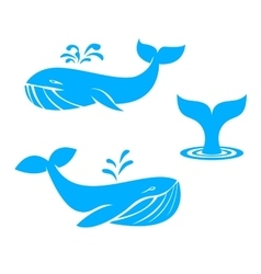 Whales icons flat design elements vector image