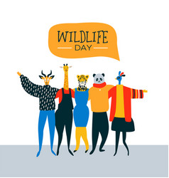 Wildlife day card of happy animal friends vector
