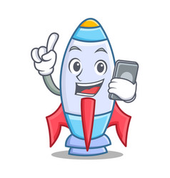 With phone cute rocket character cartoon vector
