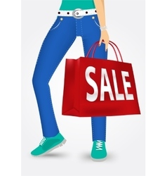 Woman legs with shopping bags vector