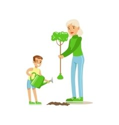 Woman Teaching Kid To Plant The Tree vector