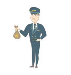 Young caucasian pilot holding a money bag vector