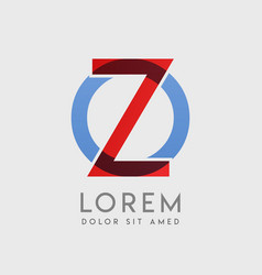 Zo logo letters with blue and red gradation vector