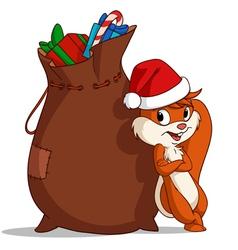 christmas bag squirrel vector image vector image