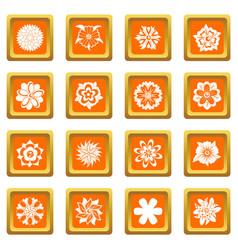 different flowers icons set orange vector image