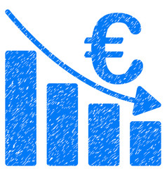 Euro recession bar chart grunge icon vector