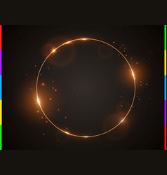golden frame with light effect flare and vector image vector image