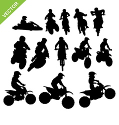 Motorcross silhouettes vector image vector image