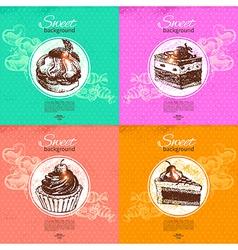 Set of vintage sweet backgrounds vector image vector image