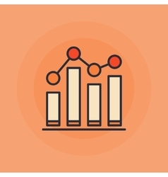 Growing graph flat icon vector image vector image