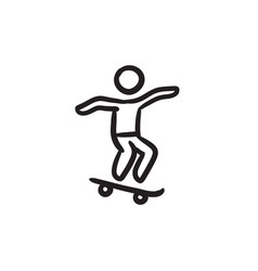 Man riding on skateboard sketch ico vector