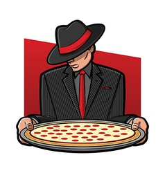 Mobster Holding Pizza vector image