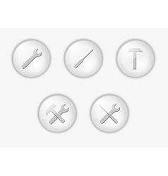 buttons with tools vector image