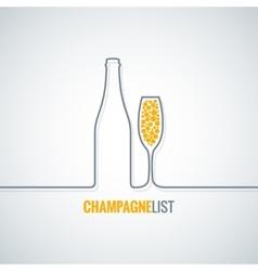 champagne glass bottle background vector image vector image