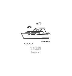 contour icon sailing boats vector image