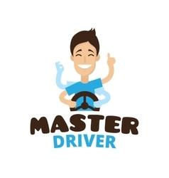 cute cartoon style mascot driver school vector image vector image