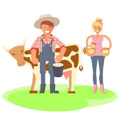 Farmers family gardeners cartoon people vector