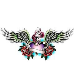 Heraldic heart emblem with wing vector