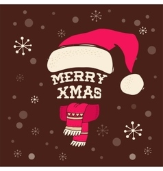 Merry Christmas - Santa hat with lettering vector image vector image