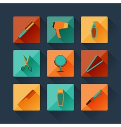 Set of hairdressing icons in flat design style vector image