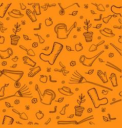 color mochrome funny cartoon garden seamless vector image vector image