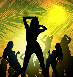 party silhouette girl vector image