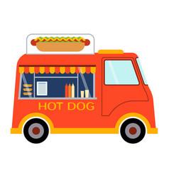 street food festival hot dog trailer vector image vector image