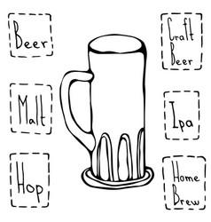 vintage beer mug hand drawn vector image
