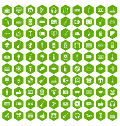 100 karaoke icons hexagon green vector